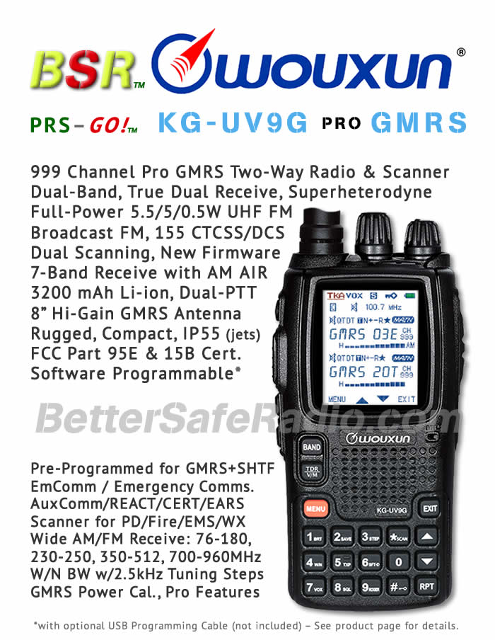 BSR Wouxun KG-UV9G PRO GMRS Two-Way Radio & SHTF Scanner - Flyer