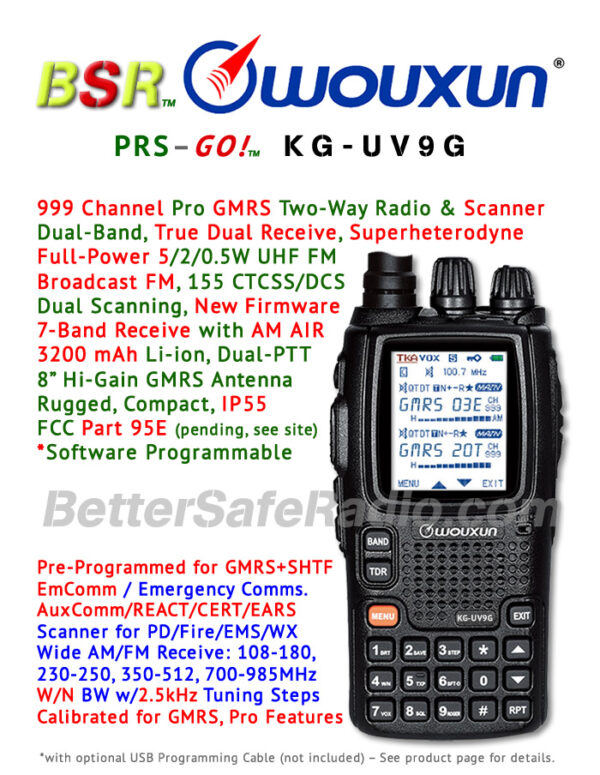Product flyer for the BSR Wouxun KG-UV9G Pro GMRS Two-Way Radio Scanner - FCC Pending