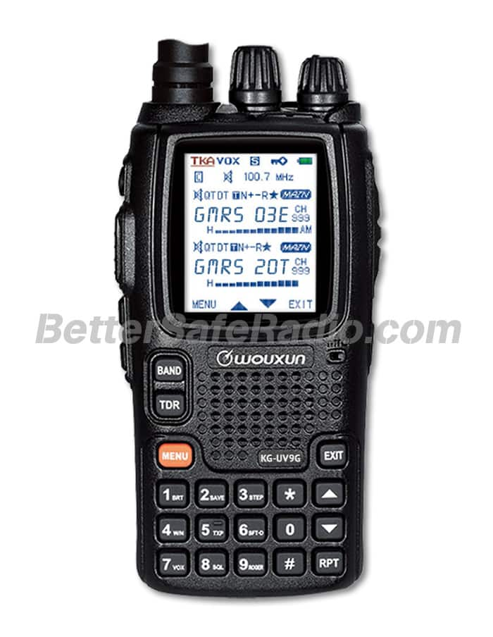 The front view of the BSR Wouxun KG-UV9G Pro GMRS Two-Way Radio & SHTF Scanner