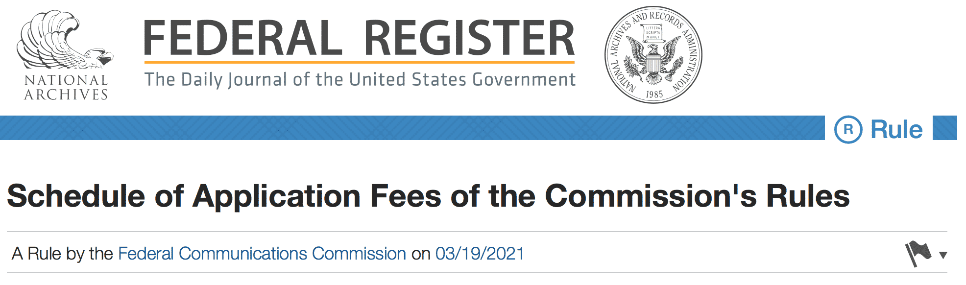 Header Image for FCC Federal Register License Fee Schedule Changes for March 19th 2021 Article