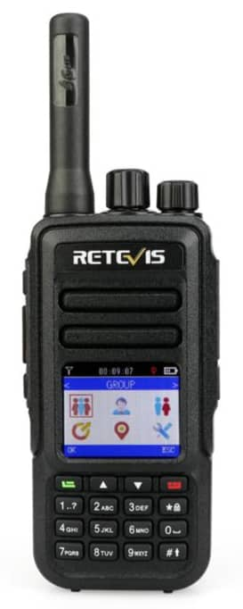 The front view of a Retevis RT51 PoC radio.