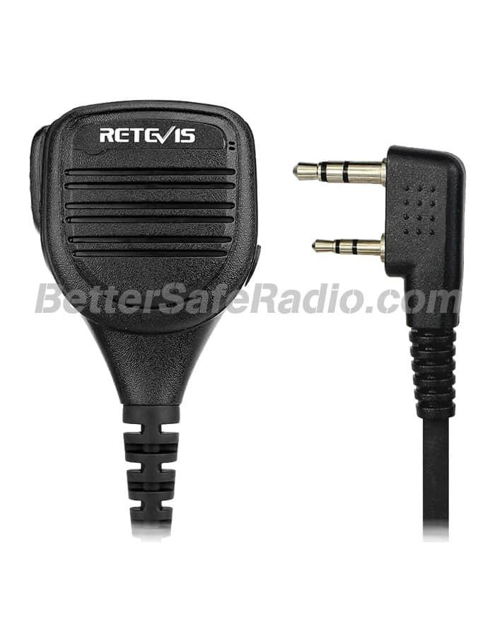 Retevis RS-112 WXRSM Heavy Duty IP54 Speaker Microphone - Plug View