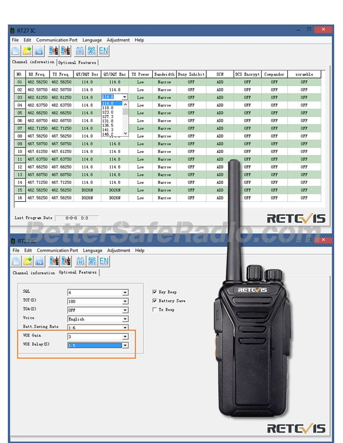 Retevis RT27 FRS Personal Business License-Free Two-Way Radio - Software