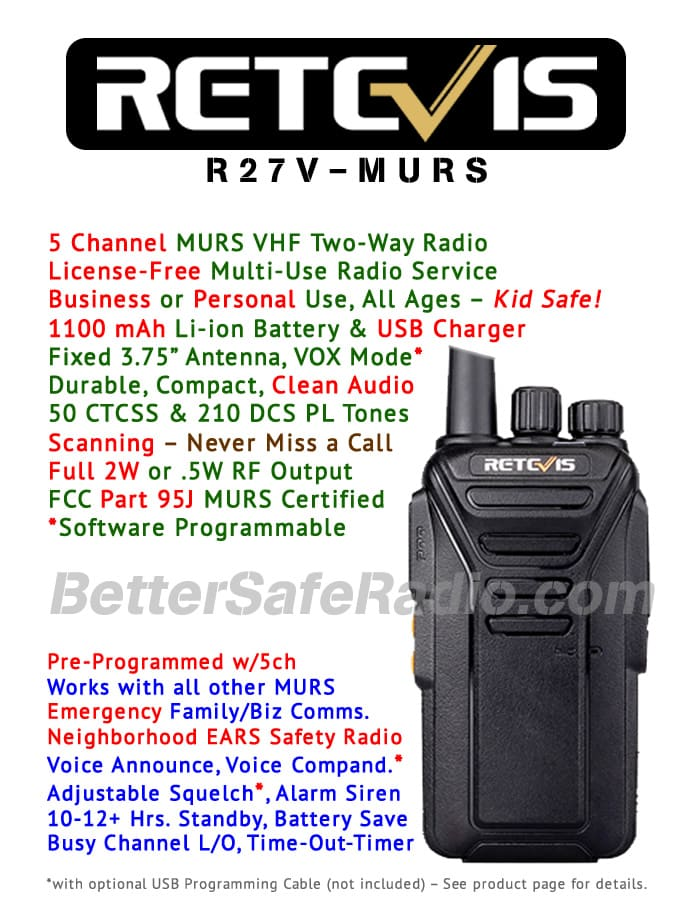 Product flyer for the Retevis RT27V MURS Personal Business License-Free Two-Way Radio