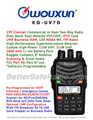 Product flyer for the Wouxun KG-UV7D Commercial Ham Two-Way Radio