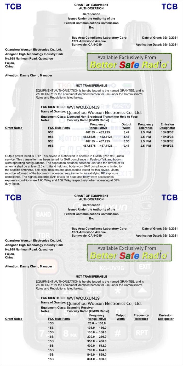 Image showing BetterSafeRadio Wouxun KG-UV9G FCC ID Part 95E & 15B Certification