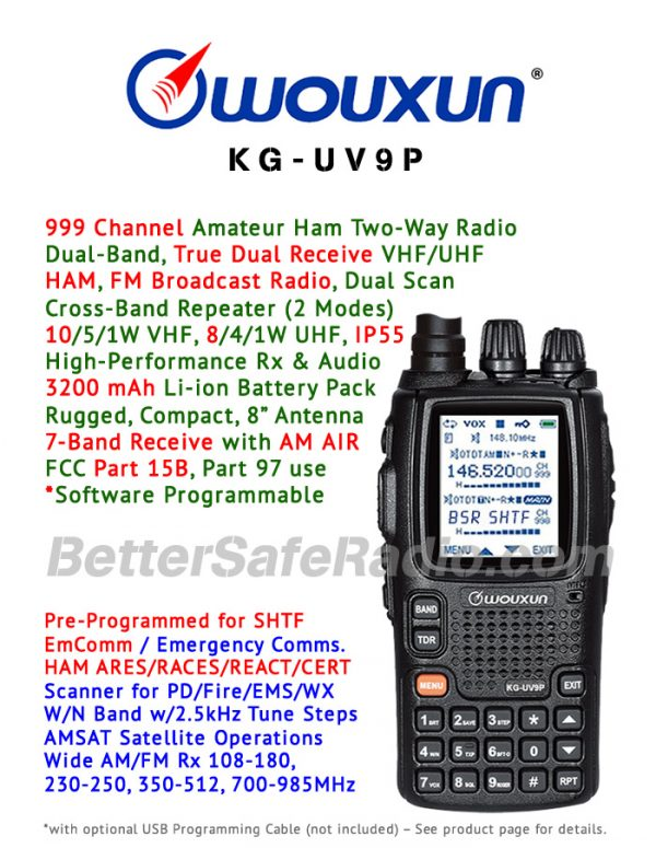 Product flyer for the Wouxun KG-UV9P Amateur Ham Two-Way Radio