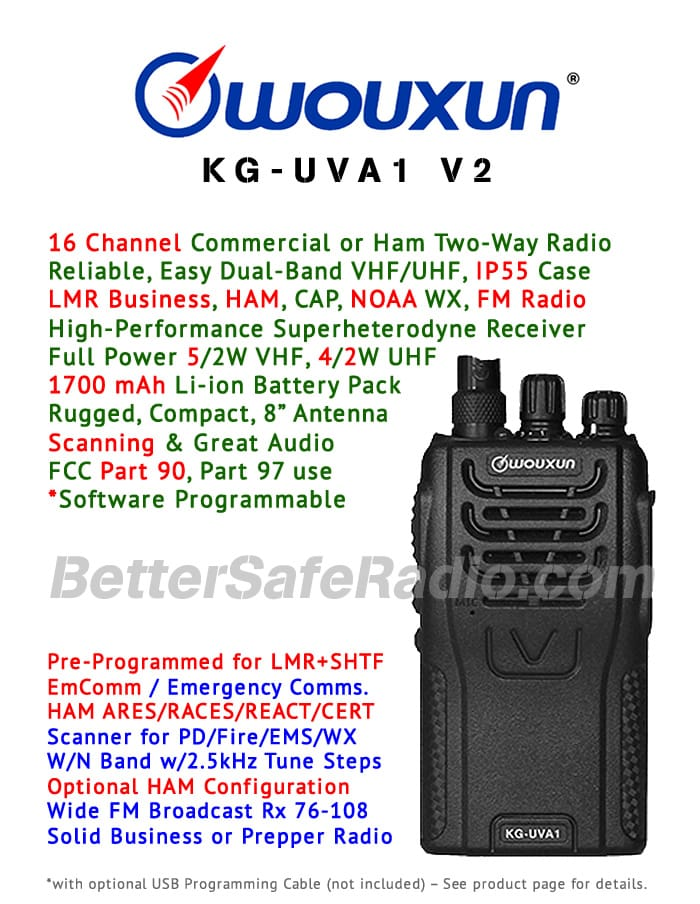Product flyer for the Wouxun KG-UVA1 V2 Commercial Ham Two-Way Radio