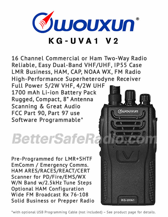 Wouxun KG-UVA1 V2 Commercial LMR or Ham Two-Way Radio - Flyer